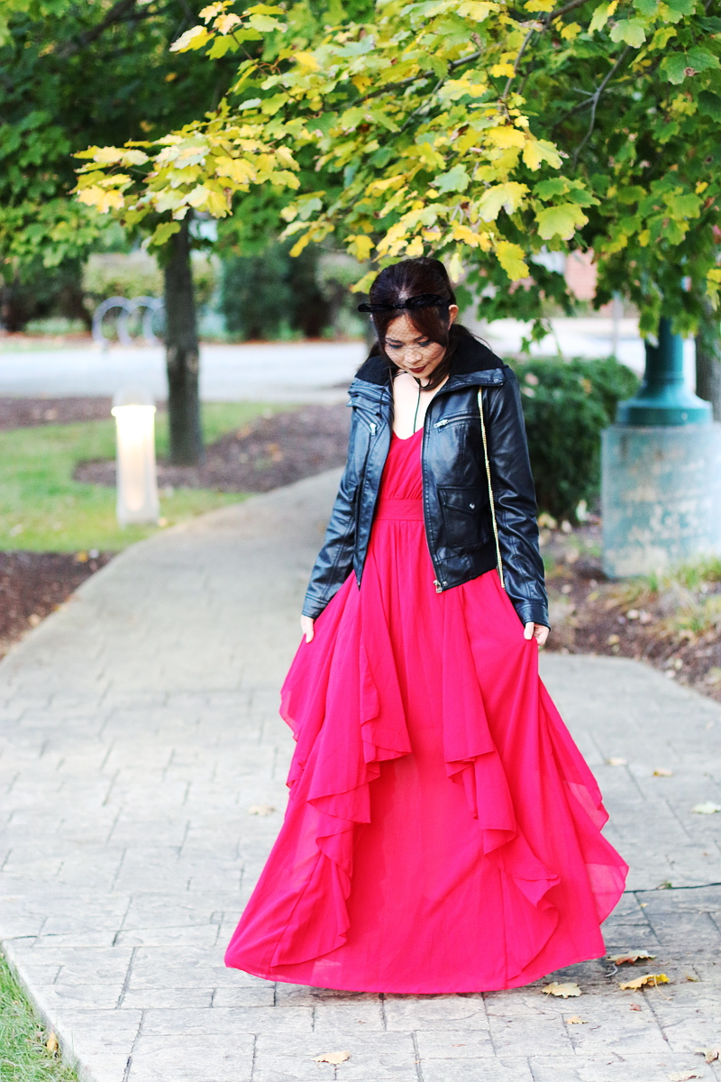 shein-red-maxi-dress-leather-jacket-1