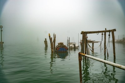 Foggy morning in the Venice lagoon