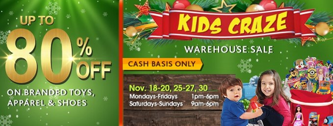 KIDS CRAZE WAREHOUSE SALE 2016
