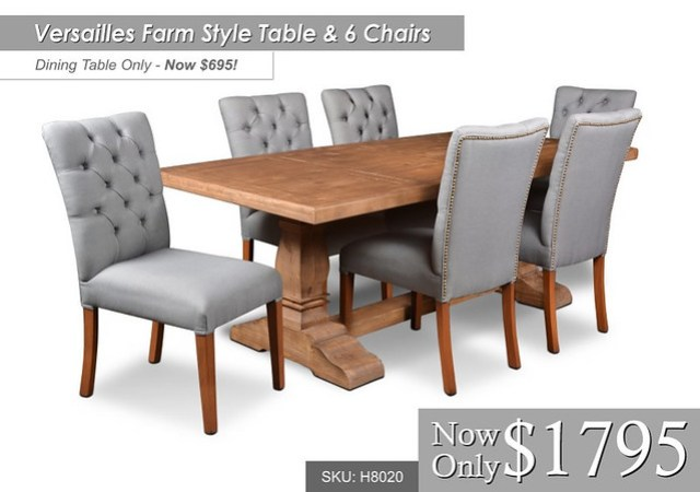 h8020- Versailles Farm Style Table Table Only $695 Table & 6 chairs only $1795