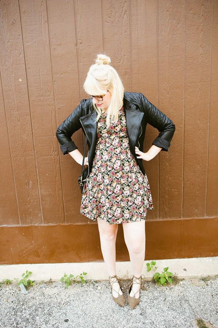 writes like a girl vintage floral dress bb dakota pierre moto jacket2