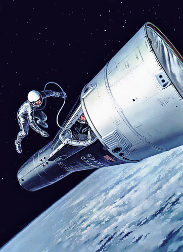 Gemini 4 Tethered astronaut ventures out of a Gemini spac