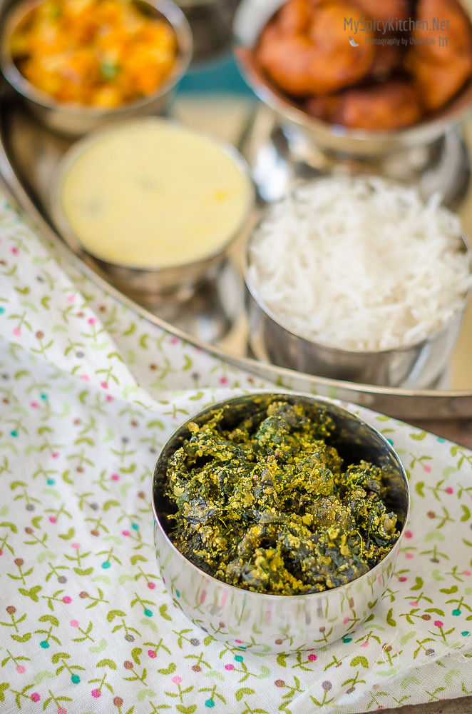 Palkachi Peethperun Bhaji, Spinach Gram Flour Curry, Palak Besan Sabzi, Curry, Indian Curry, Maharashtrian Curry, Maharashtrian Thali, Maharashtrian Food, Maharashtrian Cuisine,