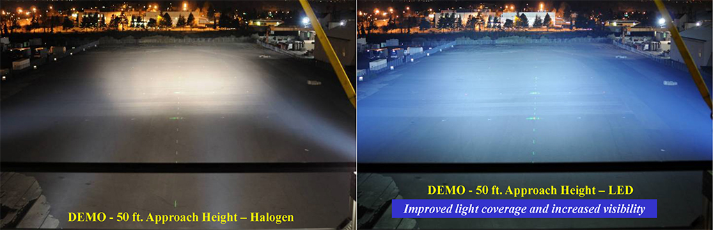 Comparativa entre luz halógena (izq) y luz LED (izq)
