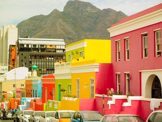 Coloured houses in Bo-Kaap, Waal Street, Cape Town
