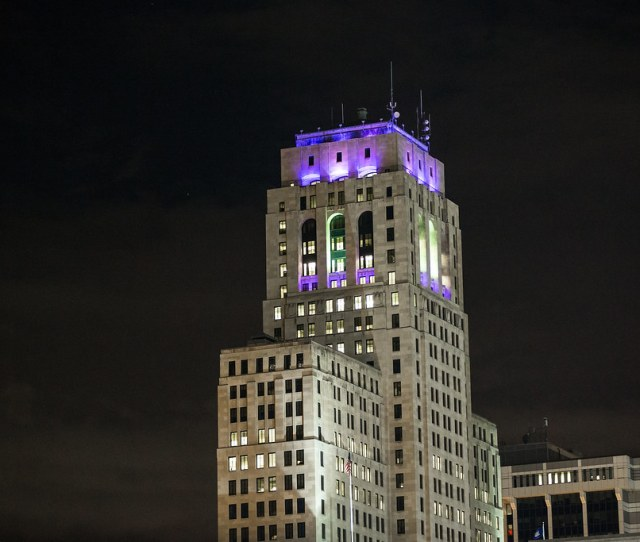 Alfred E Smith State Office Building Shines Purple For Domestic Violence Awareness Month By
