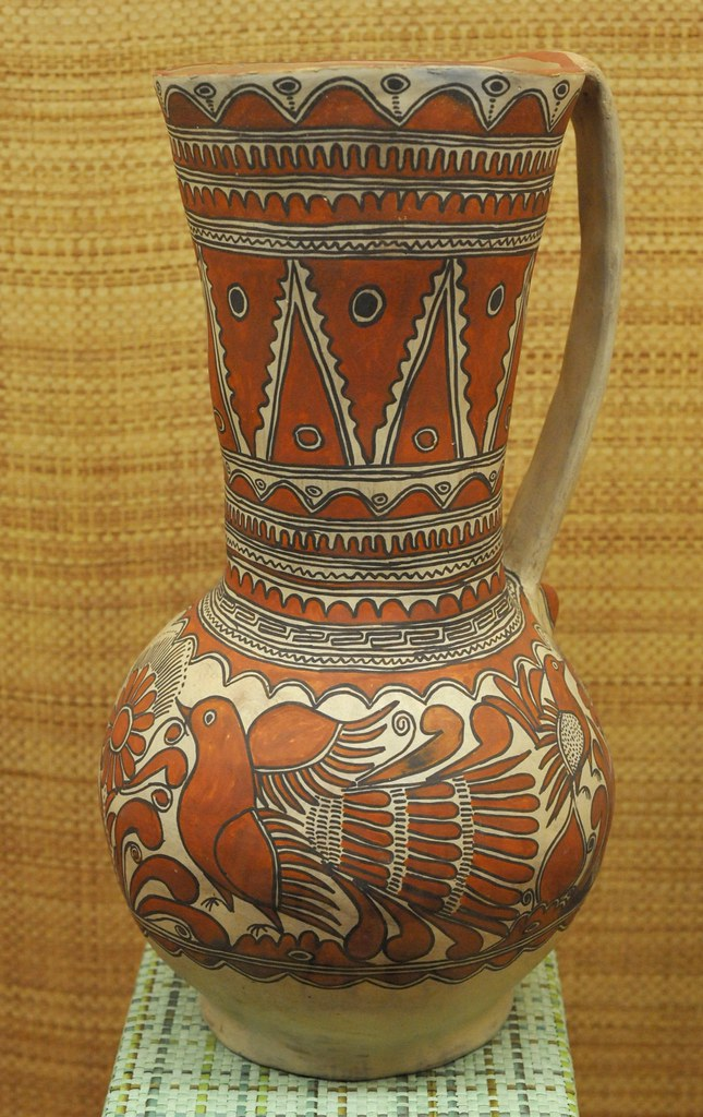Nahua Pottery Mexico Ceramic Pitcher Painted With Design