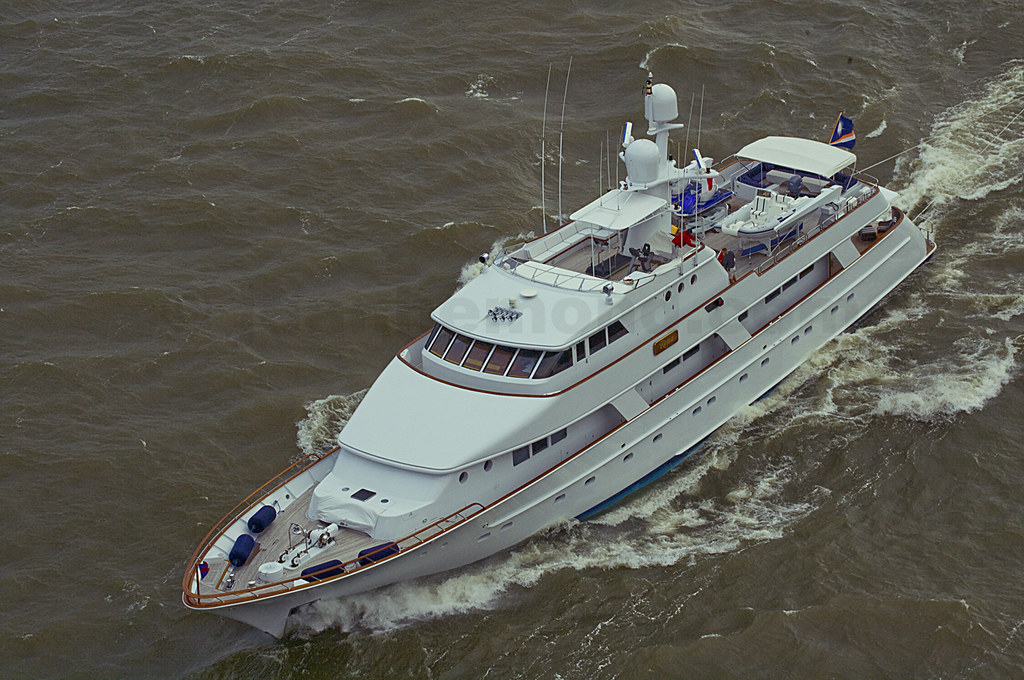 Aerial View Of MEGA YACHT RENA IMO Number 1001489 Bound