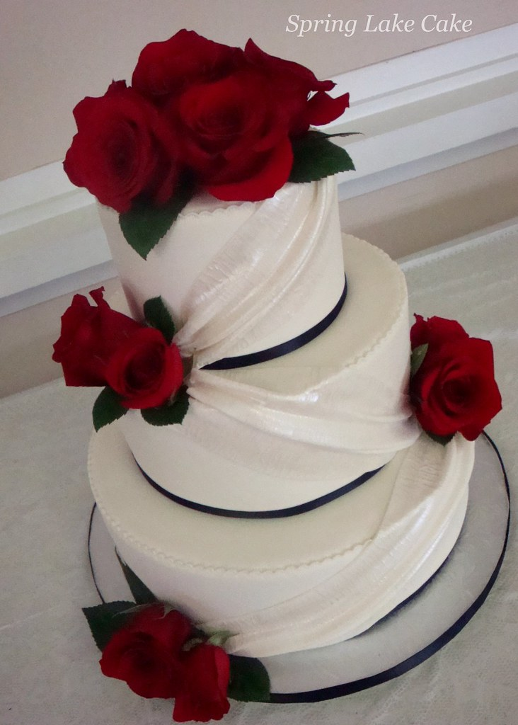 Red Rose Wedding Cake   Fondant wedding cake with drapes and      Flickr     Red Rose Wedding Cake   by springlakecake