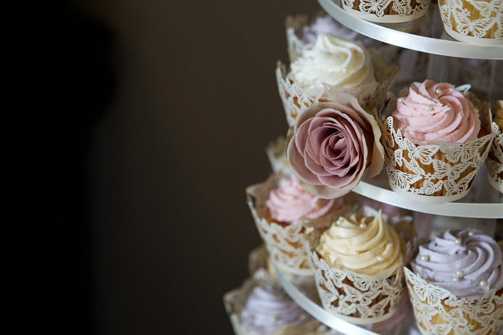 Close Up Of Vintage Butterfly Cupcakes