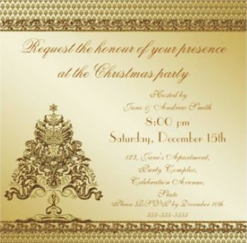 Gold Christmas Tree Invitation From Elegant Damask