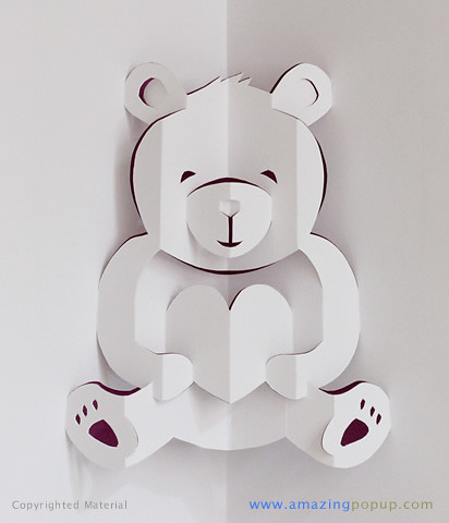 Lovely Bear Valentine Popup Card Wwwamazingpopupcom