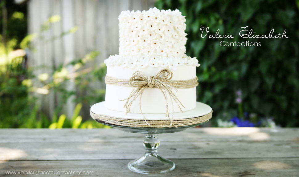 two tier wedding cake with twine by valerie elizabeth confections
