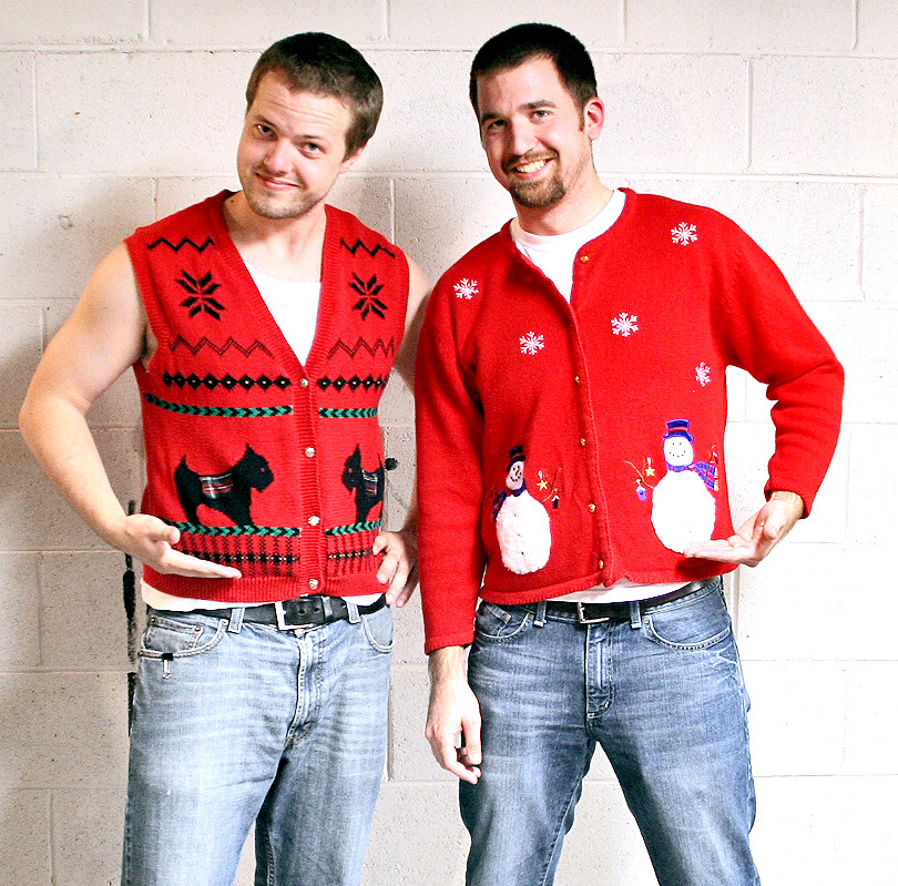 Ugly Christmas Sweaters High Contrast Shot Of Two Young