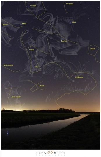 Een foto uit het archief: de sterrenbeelden van de winter met de  opvallende Orion en Stier als hoofdrol.  (ISO1600, f/4, 15sec - 15mm fisheye)