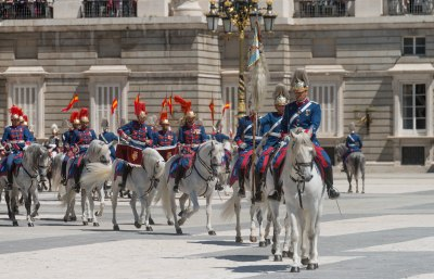 Royal Spanish guards on Parade during the changing of the guard