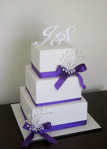 White And Purple Bling Wedding Cake Congratulations To