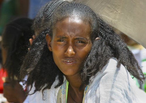 Woman With Traditional Hairstyle In Senafe Market Eritrea