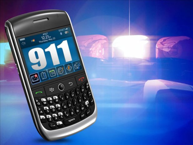 911 dialed on a mobile phone
