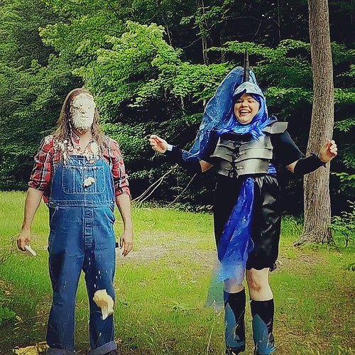 Last one of these (video later) but she really seems to have enjoyed pieing me. #pieintheface #overalls #Dickies #bluedenim #plaid #cosplay #mylittlepony #nightmaremoon