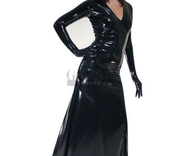 Black Long Sleeves Unicolor Pvc Sexy Dress By Globetrendy2012