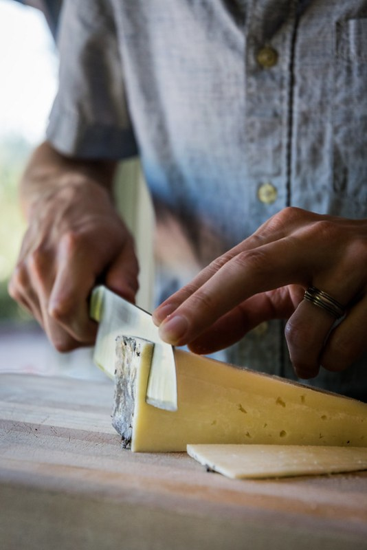 trimming the pecorino romano