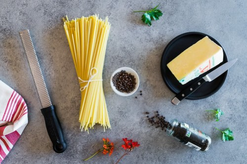 just three ingredients: pasta, pepper, and pecorino