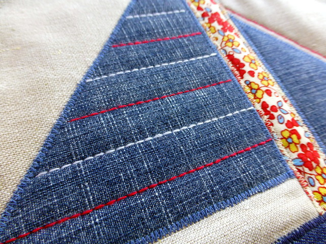 Denim Sailboat Cushion (Pretty Patches July16)