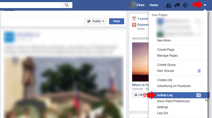 How to clear Facebook Search History 1