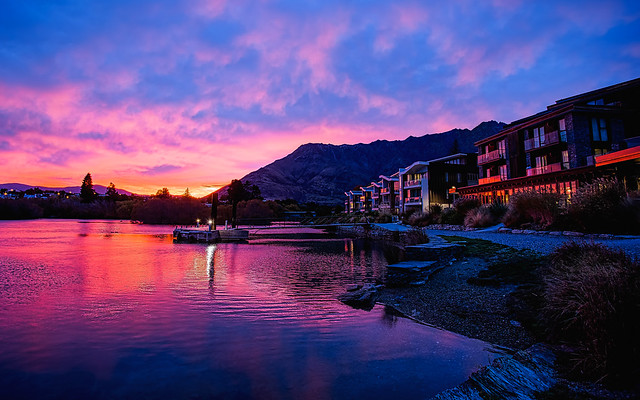 Remarkable Sunrise Over the Queenstown Hilton