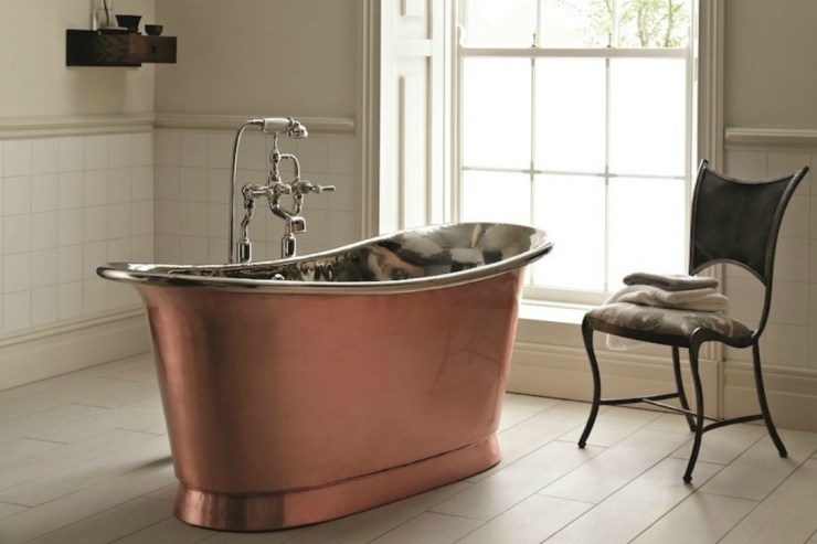 Bathroom Decor - Navy & Copper Bathroom Inspiration Copper and Navy. Are you looking for bathroom inspiration using navy, grey, and copper. Well so am I, here are some of the inspiring images I found on pinterest