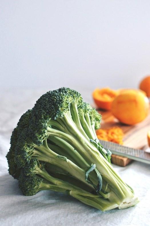 Head of local organic broccoli