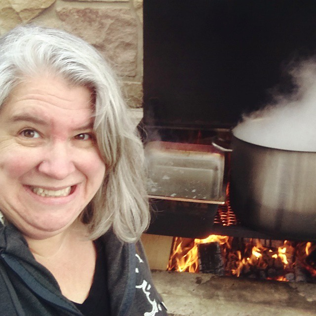 And our next fire is not for smoke but for sugaring! 100 litres of sap to boil off. #maplesugaring #sap #fire #boil #sugaring #maplesyrup #selfie #homesteading #diy #Ontario #LexGoFurther