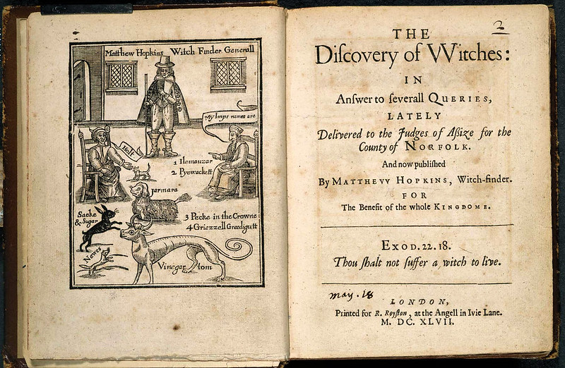 Matthew Hopkins was a shadowy figure who called himself 'Witchfinder General' and had around 300 women executed in East Anglia during the turmoil of the English Civil War in 1645 and 1646. The title page shown here is from Hopkins's 1647 book 'The Discovery of Witches', in which he describes his grim profession.