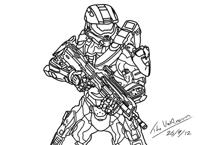 halo 4 master chief sketch coloring page