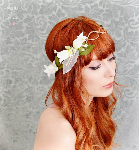 White Flower Crown Wedding Headband Fairy Circlet Brida
