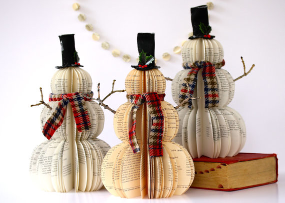 Vintage Book Snowmen Created By Hanna Gritton Of Etsy
