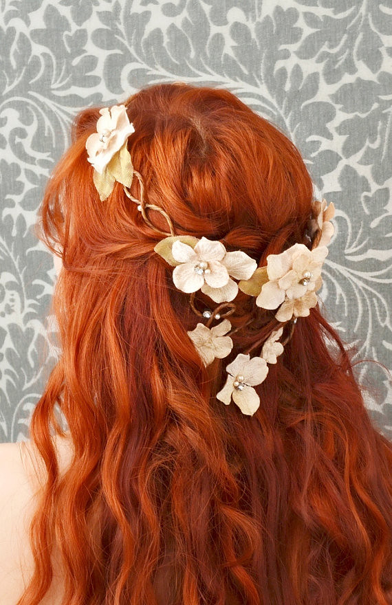 Wedding Flower Crown Hair Wreath Cream Velvet Floral Hea