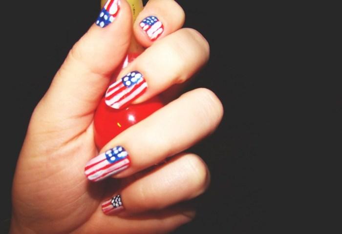 Uñas Decoradas Con La Bandera De Estados Unidos 3 C A M M I I