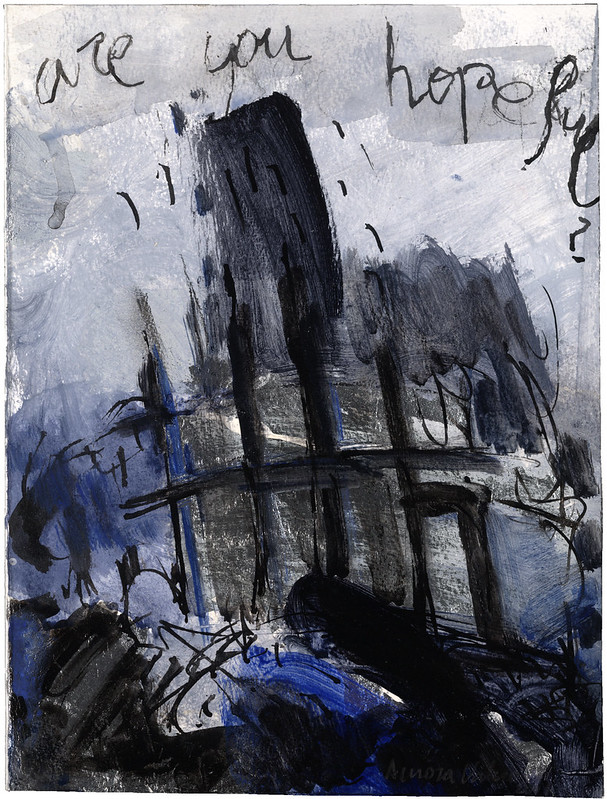 Are you hopeful? Painting includes the ruins of the World Trade Center, New York City, following the September 11th terrorist attack. Aurora Valero, Artist.