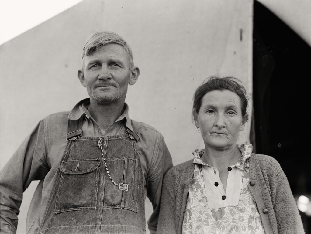 Father and mother of eleven children, originally from Oklahoma, where he had been a tenant farmer. In Farm Security Administration FSA migratory labor camp. Brawley, Imperial Valley, California. Dorothea Lange, photographer, February 1939
