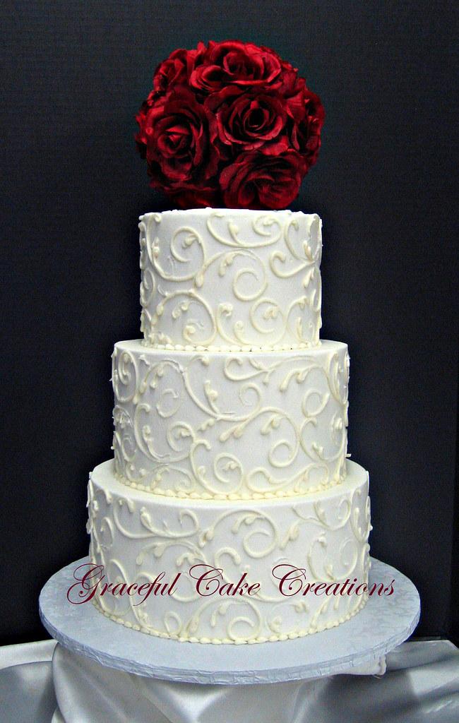 Elegant White Buttercream Wedding Cake Grace Tari Flickr