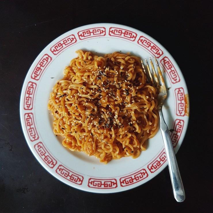 spicy korean fire noodles