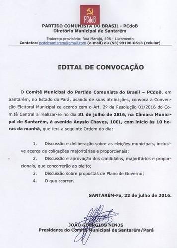 PCdoB - Edital de Convocação, pcdob - eleição 2016 - edital