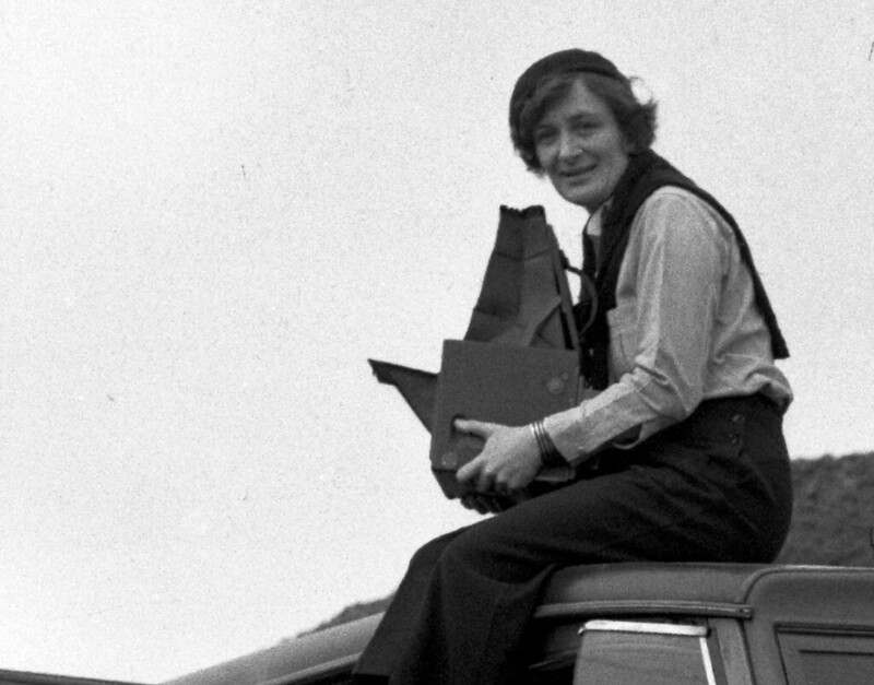 Dorothea Lange, Resettlement Administration photographer, in California. Feb, 1936.