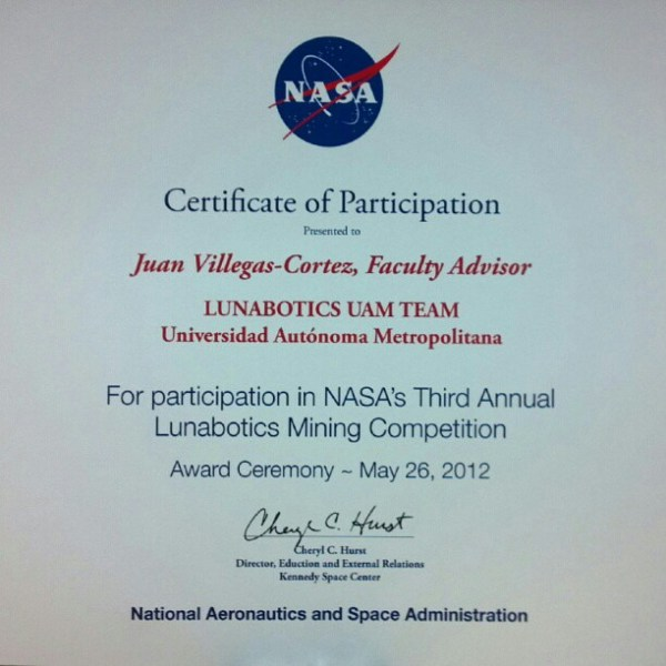 Nasa Lunabotics 2012 certificate of participation juanvc