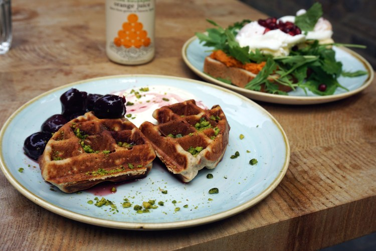 Gluten free waffles from Beyond Bread bakery (Beyond Bread Islington branch)
