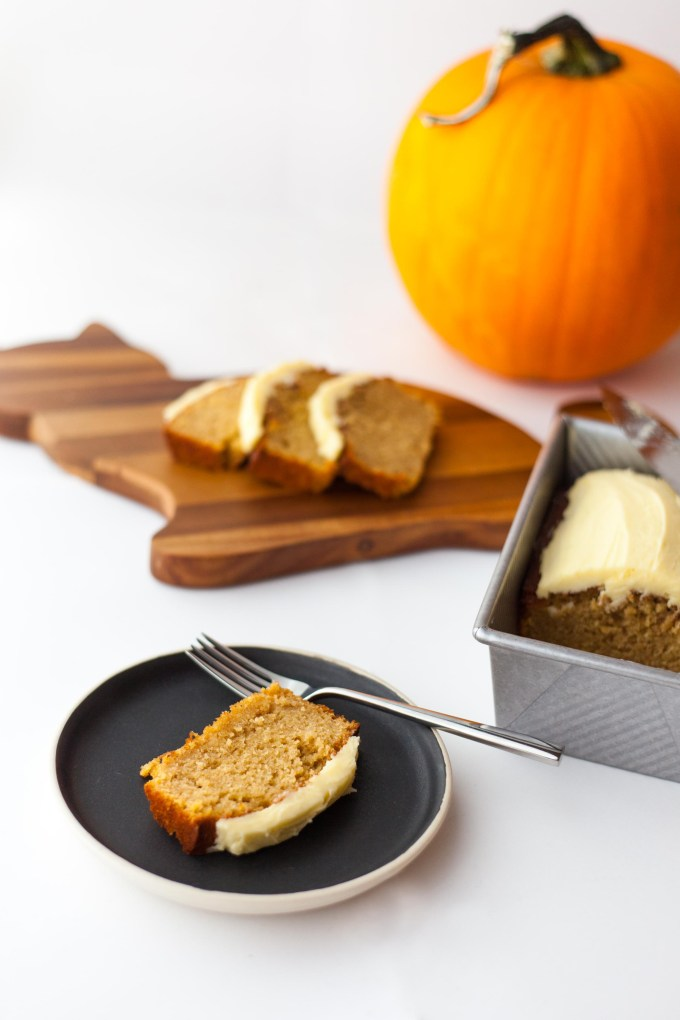 Crafts and a Cat | Pumpkin Olive Oil Loaf with Rosemary Buttercream by Kayleigh Kosmas