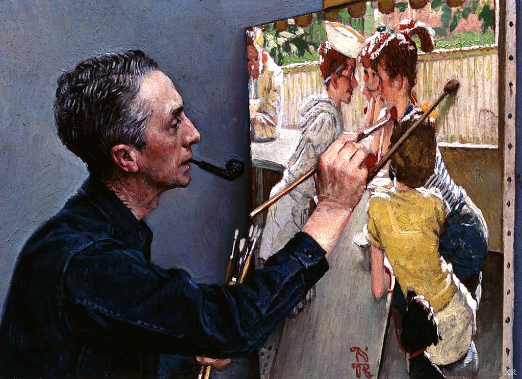 1953 Self Portrait Painting Soda Jerk Norman Rockw