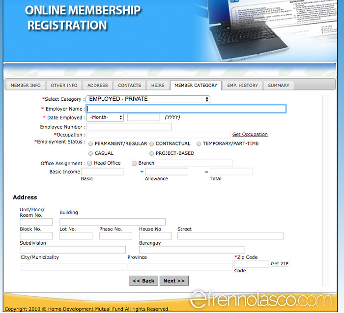 Pagibig online registration - member category